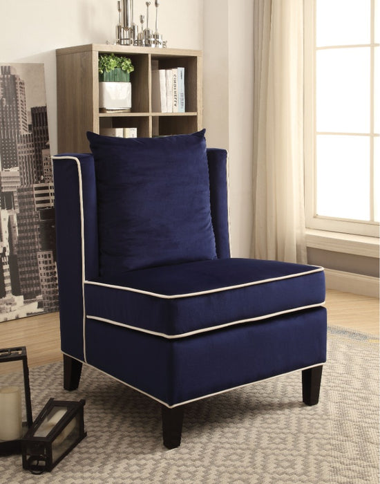 Modish Accent Chair, Dark Blue Velvet