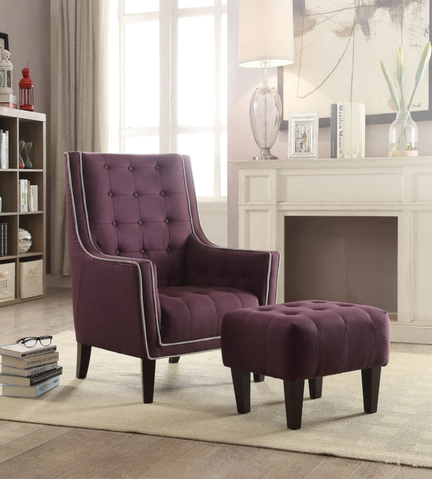 Wooden & Fabric Chair & Ottoman, 2 Piece Pack, Purple