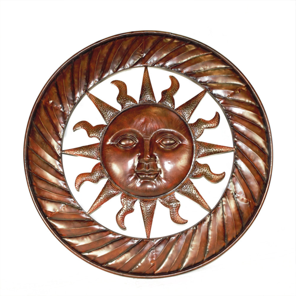 Sun Design Round Metal Wall decor, Copper
