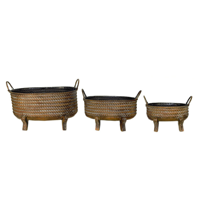 Vintage Style 3Piece Metal Planter With Handles, Brown