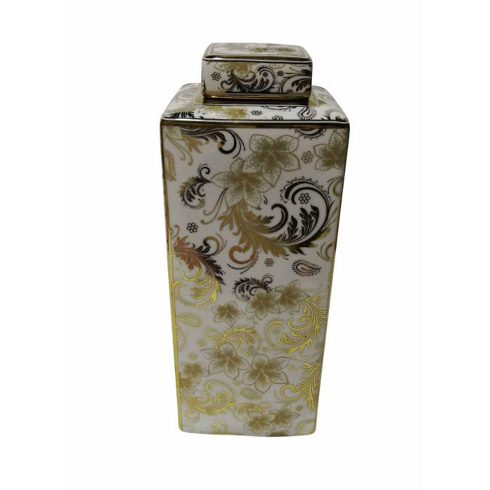 Flower Designed Ceramic Covered  Jar, White And Gold