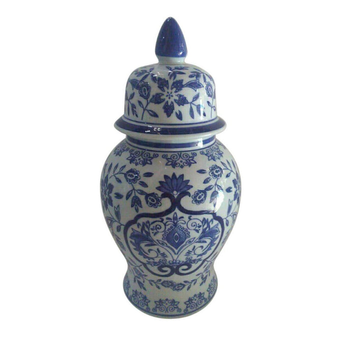 Traditional Ceramic Covered Temple Jar, Blue And White