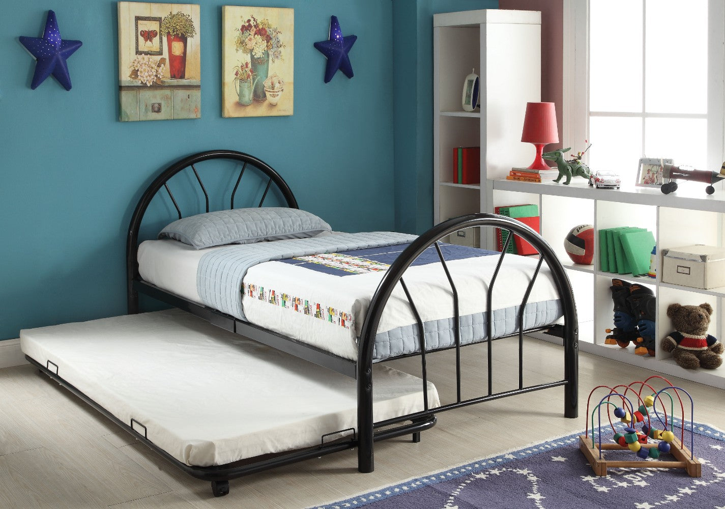 Metal Twin Bed In Slatted Style, Black