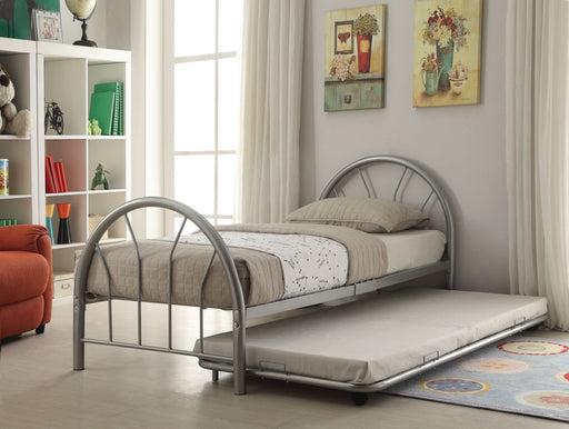 Metal Twin Bed In Slatted Style, Silver