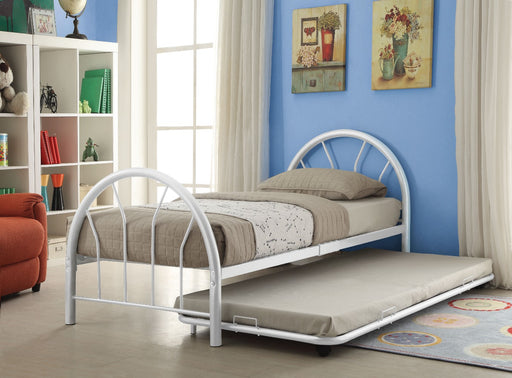 Metal Twin Bed In Slatted Style, White