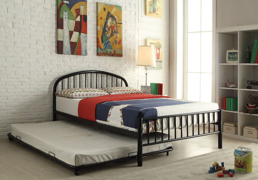 Metal Full Bed In Slatted Style, Black