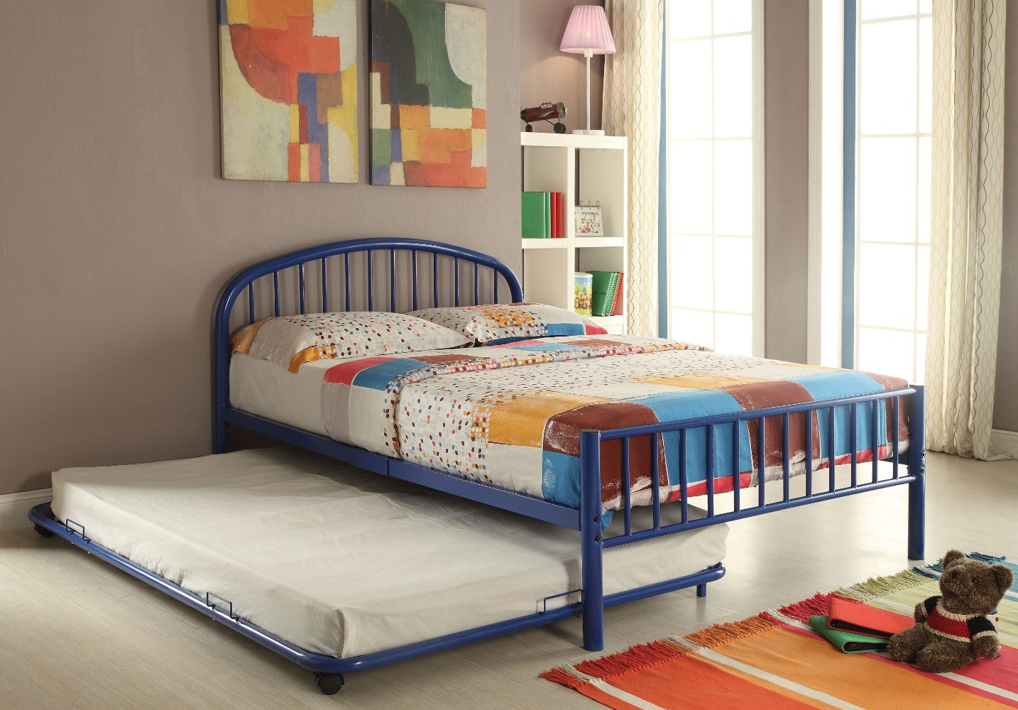 Metal Full Bed In Slatted Style, Blue