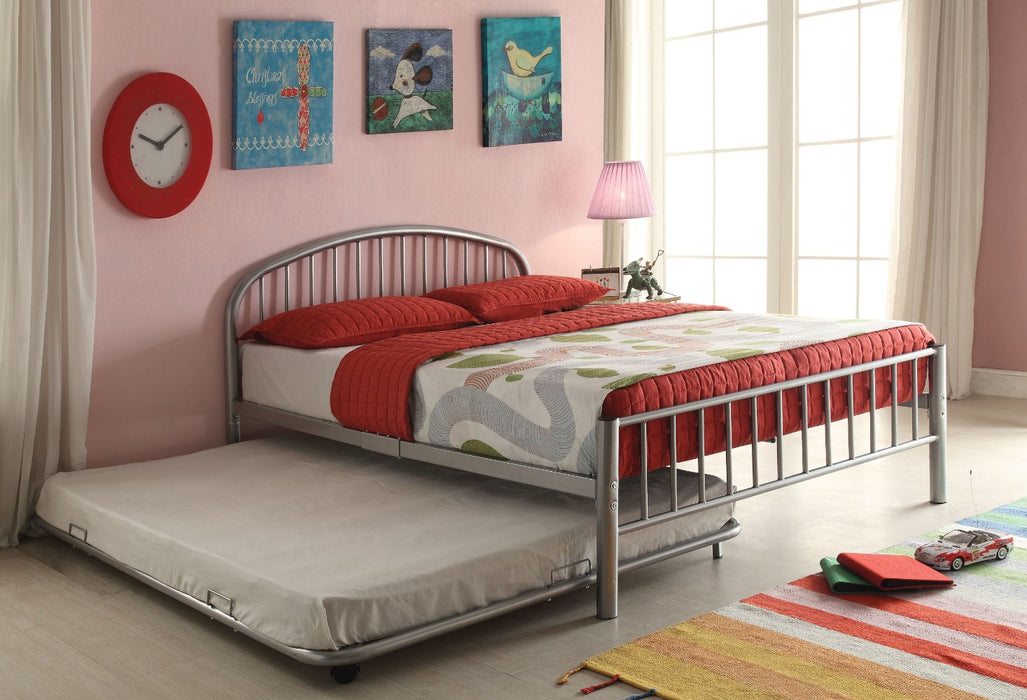 Metal Full Bed In Slatted Style, Silver