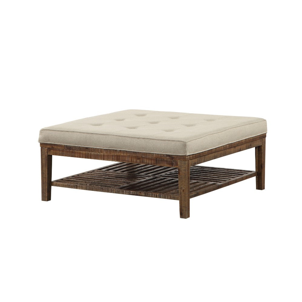 Wooden Rectangular Cocktail Ottoman (Square), Beige Linen &  Oak Brown