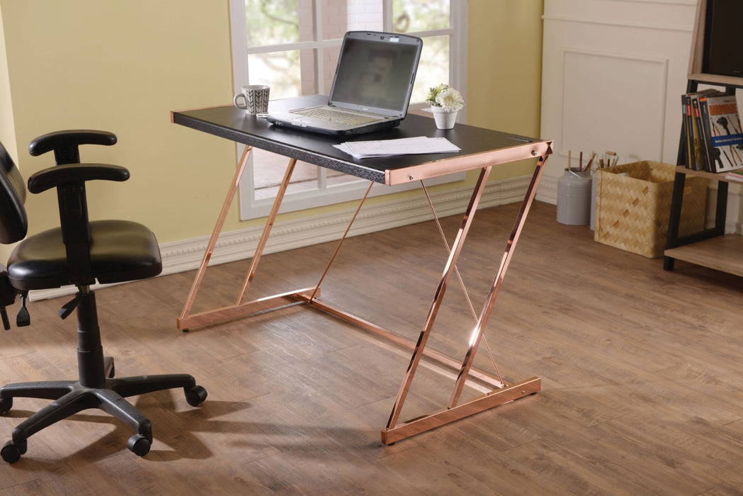 Metal Rectangular Writing Desk With USB Dock , Black & Rose Gold