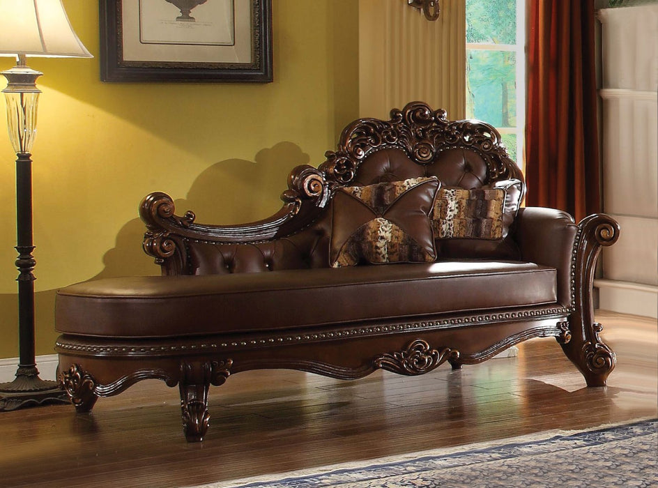 Elegant Wooden Chaise with 2 Pillows, Cherry Brown