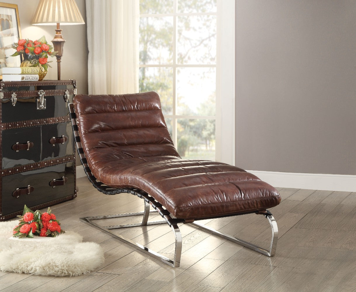 Top Grain Leather Chaise, Vintage Dark Brown & Stainless Steel