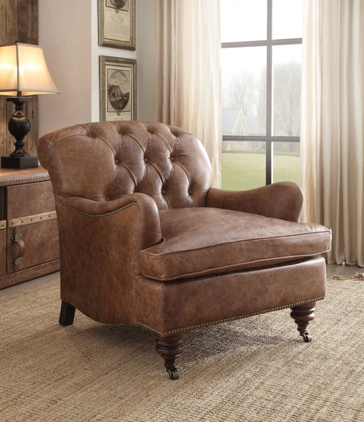 Wood & Leather Accent Chair, Retro Brown
