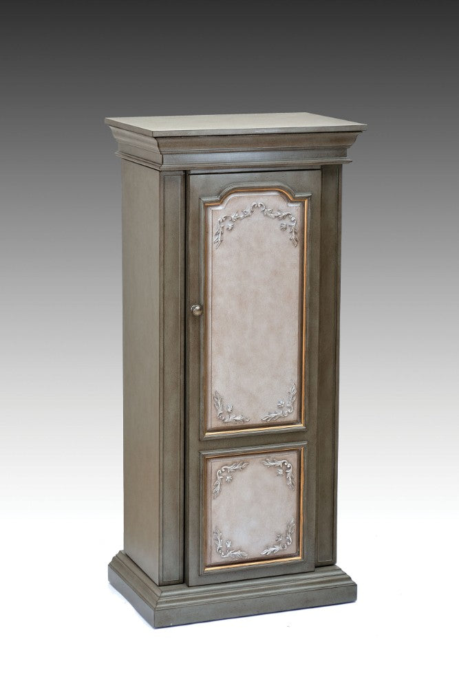 Wooden Jewelry Armoire, Antique Gray & Antique Beige