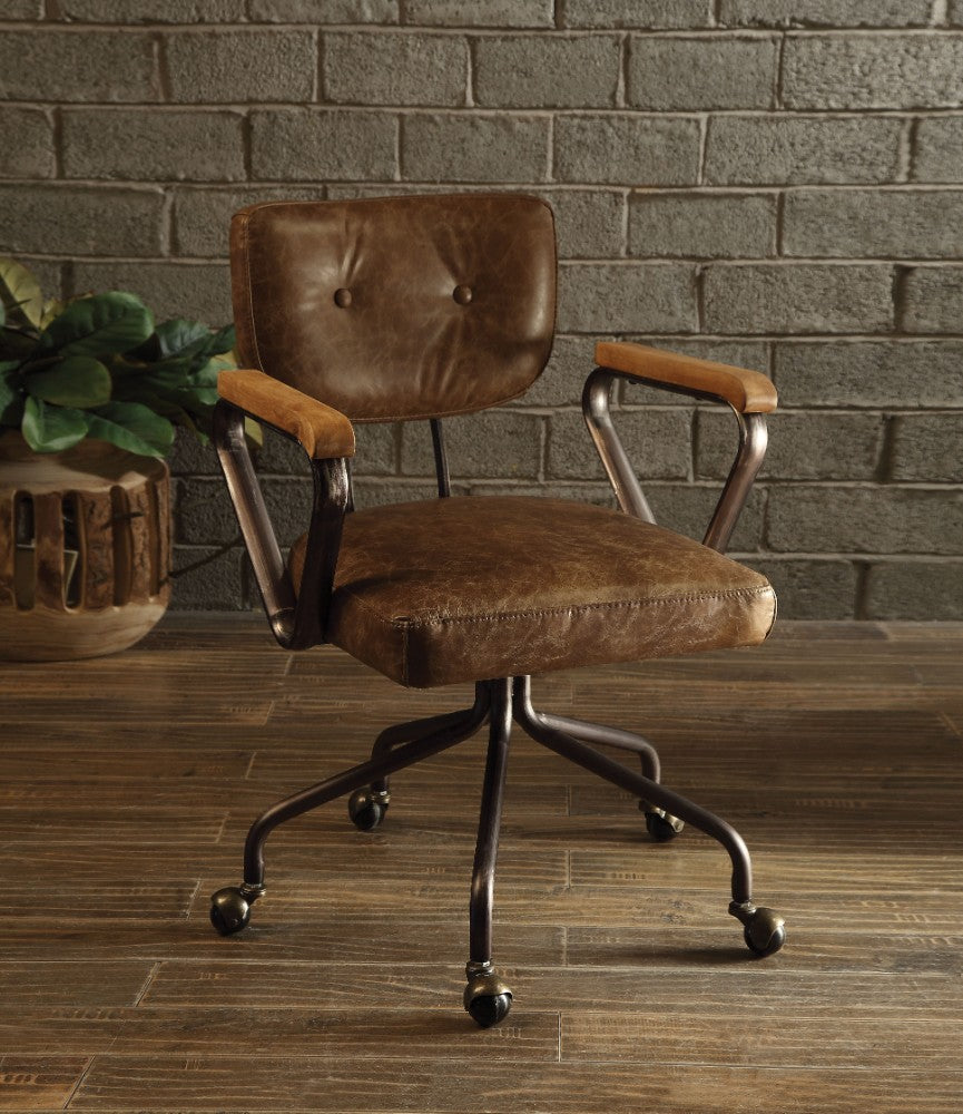 Metal & Leather Executive Office Chair, Brown