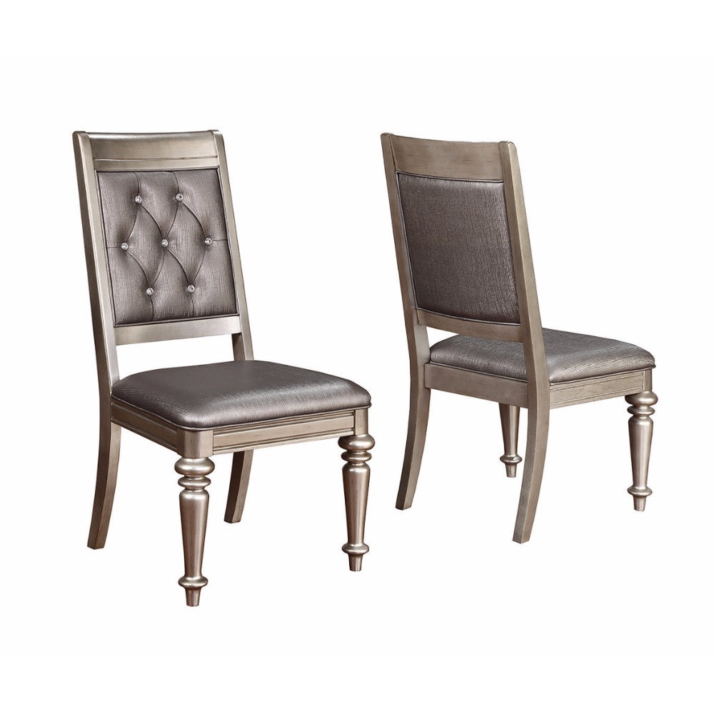 Wooden Dining Armless Chair With Tufted Back, Gray & Silver, Set of 2