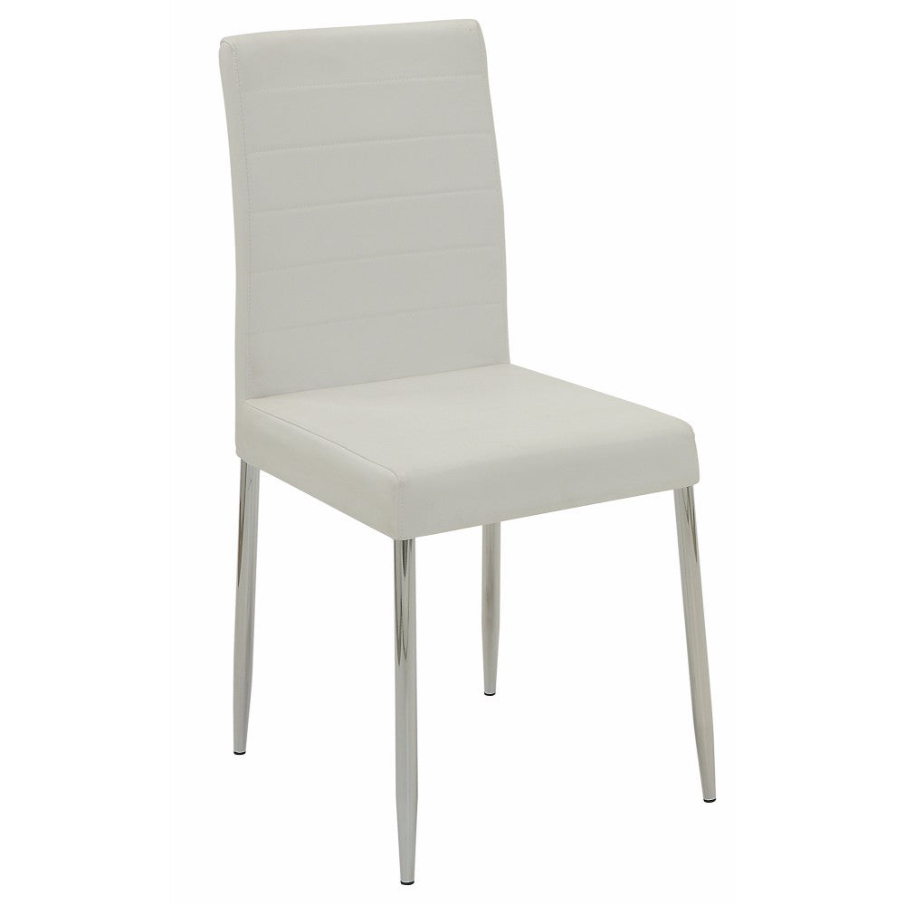 Contemporary Dining Side Chair, White, Set of 4