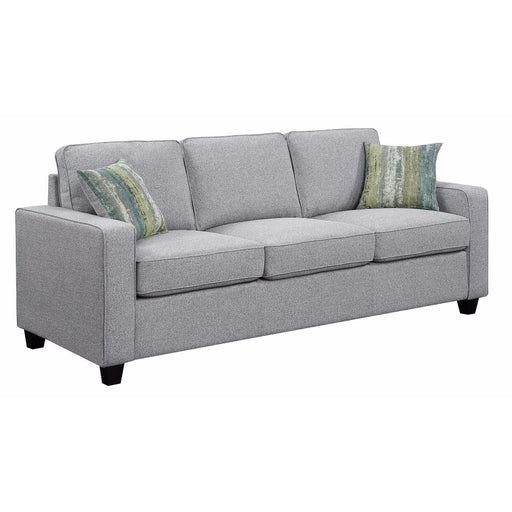 Wooden Three Seater Sofa, Gray