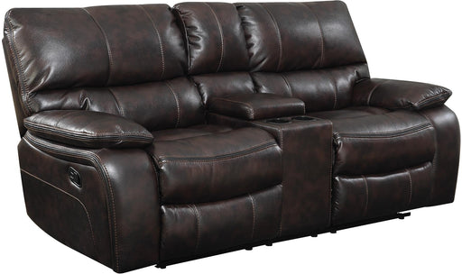 Wooden Motion Loveseat With Storage Console, Brown