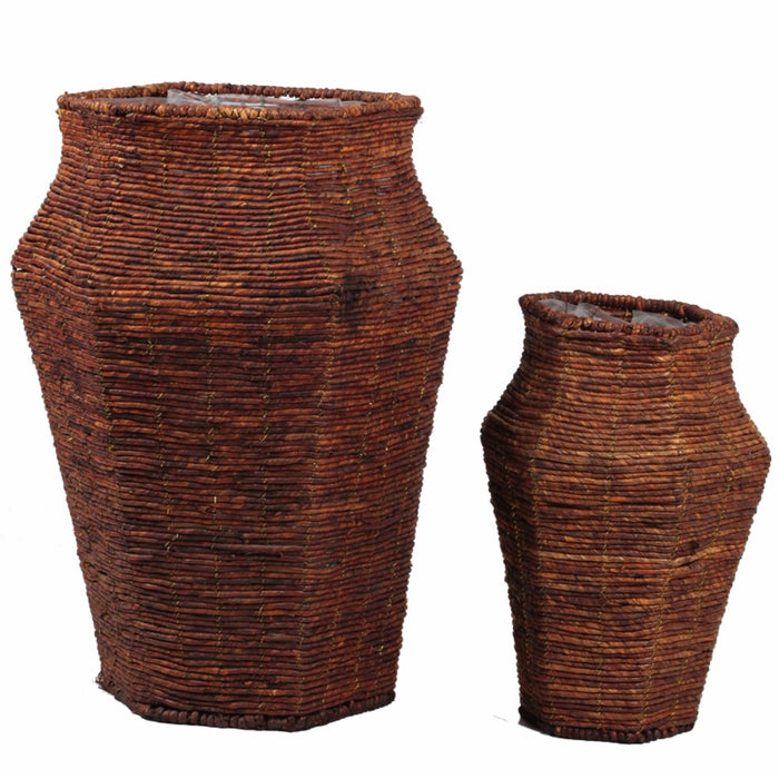Set Of 2 Stylish Pot Shaped Baskets, Brown