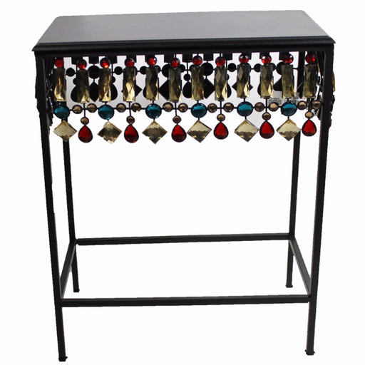 Squared Metallic Accent Table , Black