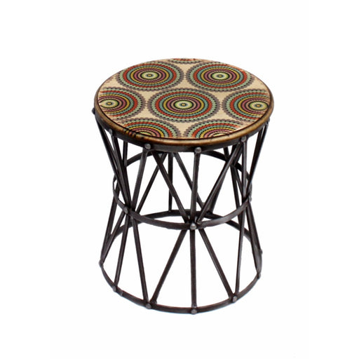 Round Metal Accent Table,Multicolor