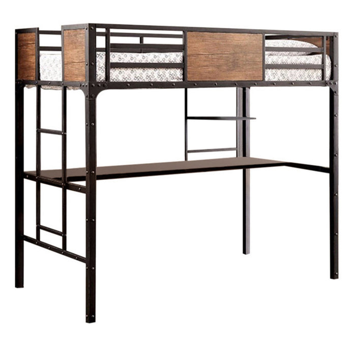 Wooden & Metal Twin Size Bunk Bed With Workstation, Black