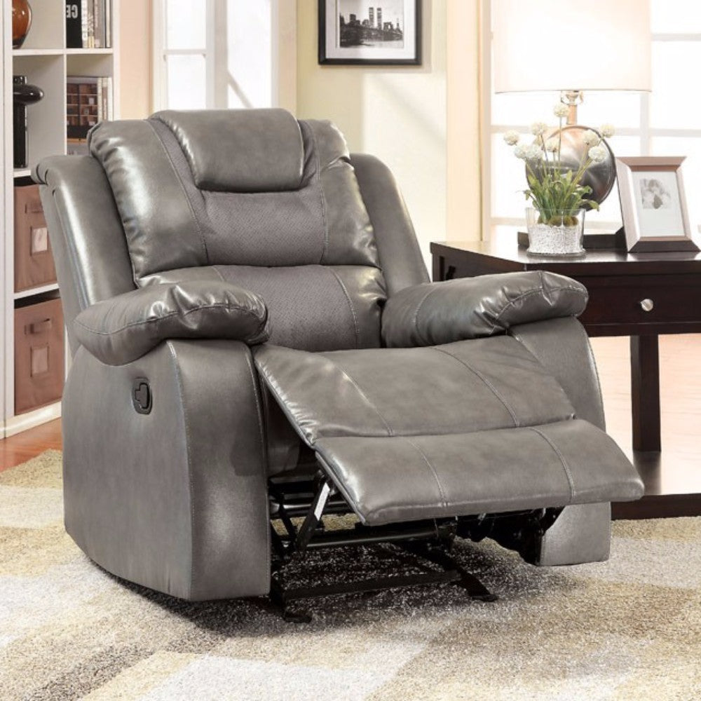 Leather Glider Recliner, Gray