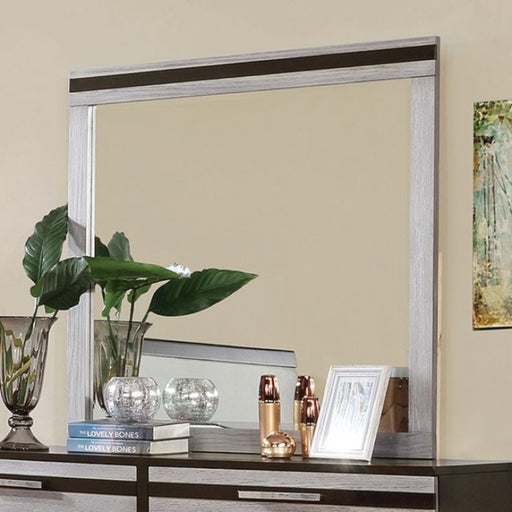 Wooden Square Frame Mirror, Silver & Espresso Brown
