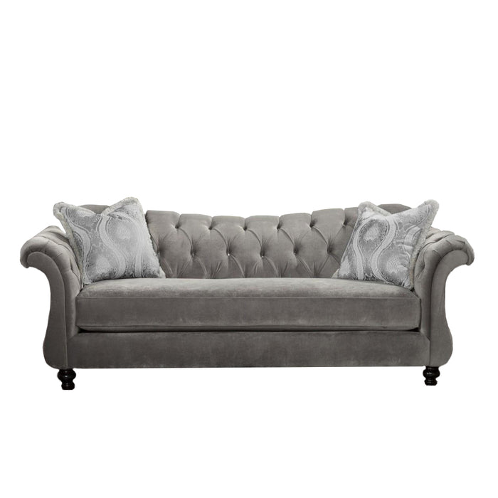 Velvet Fabric Sofa With 2 Pillows, Gray