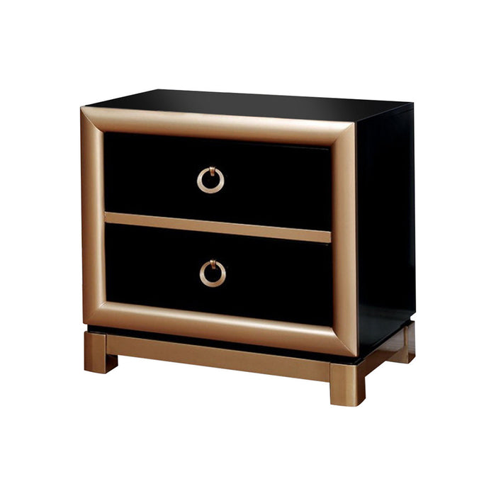 Wooden Night Stand with 2 Drawers , Black and  Gold