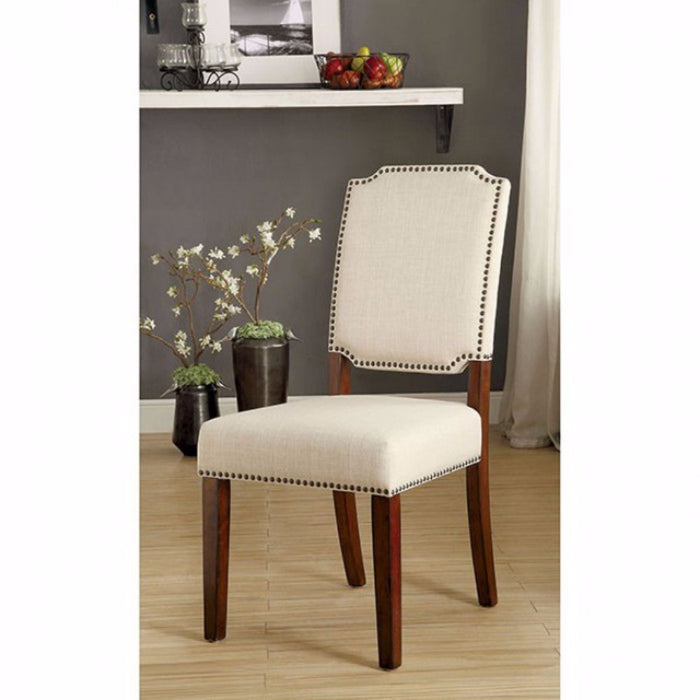 Wooden Side chair with padded Ivory Seat, Cherry Brown, Pack of 2
