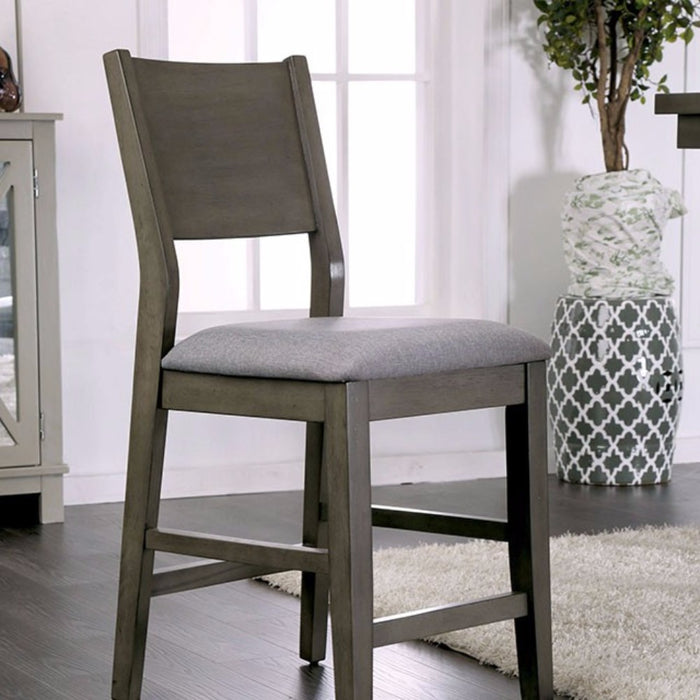 Wooden Counter Height Chair With cushioned Seat, Gray