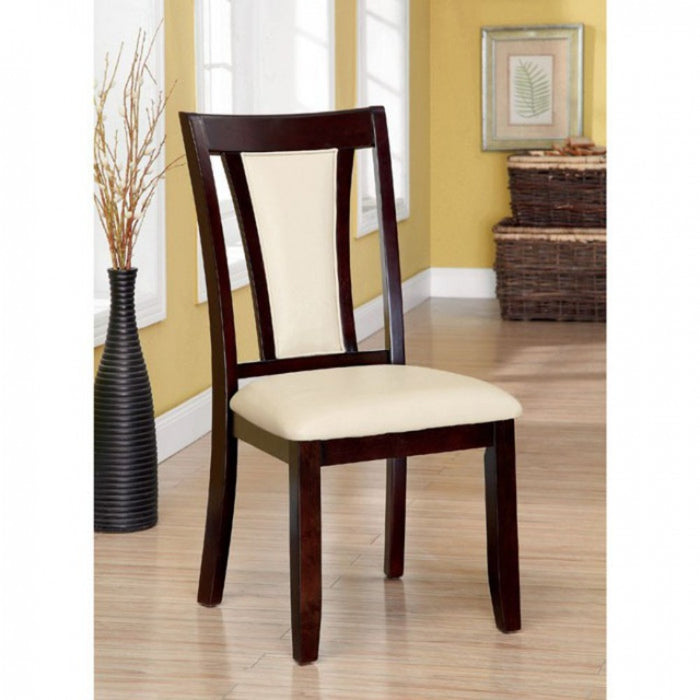 Wooden Side Chair With Padded Ivory Seat & Back, Pack Of 2, Cherry Brown