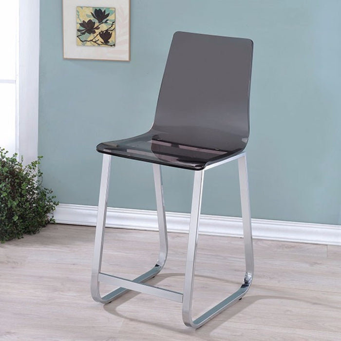 Counter Height Chair With Metal Base, Pack of 2, Translucent Black