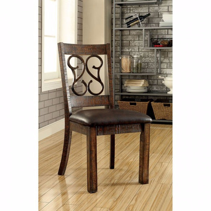 Wooden Armless Side Chair With Leather Seat, Rustic Walnut Brown, Pack of 2