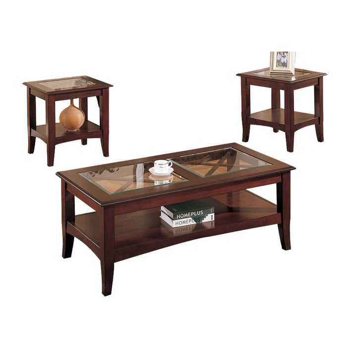 Wooden 3 Piece Table Set With Glass Top In Dark Cherry Brown