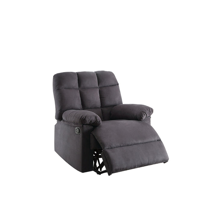 Recliner With Tufted Back And Roll Arms In Gray