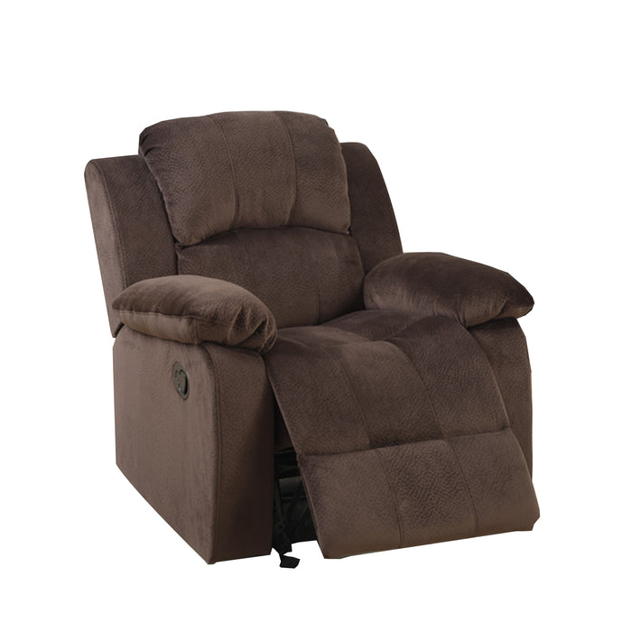 Rocker Recliner In Choco Brown Suede Fabric