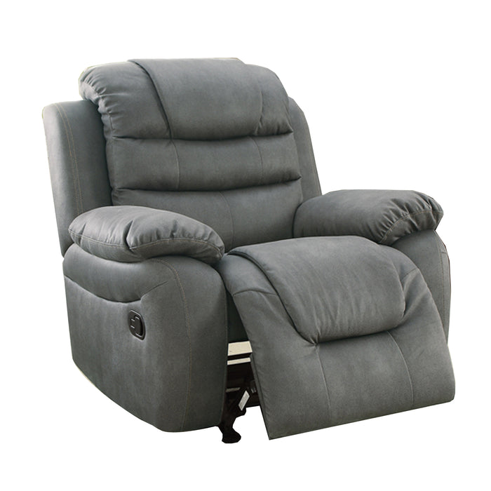 Leatherette Rocker Recliner In Slate Gray