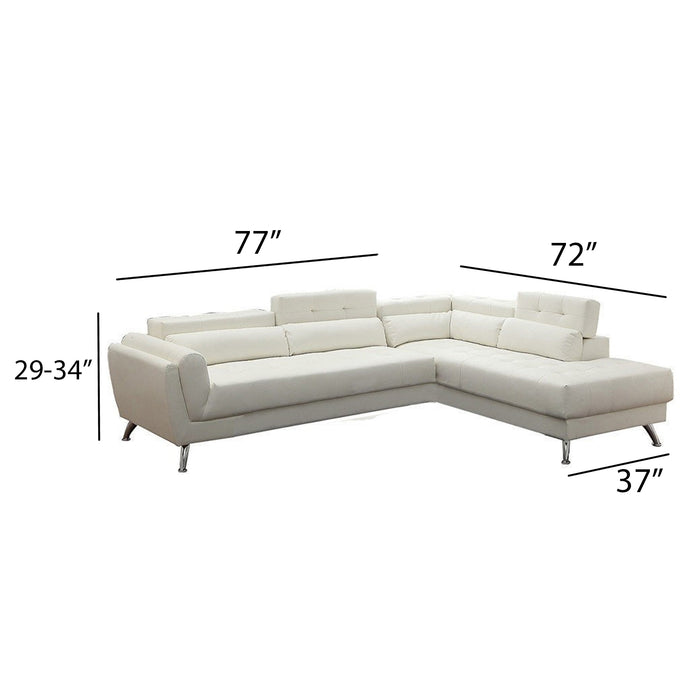 Leather 2 Piece Sectional In White