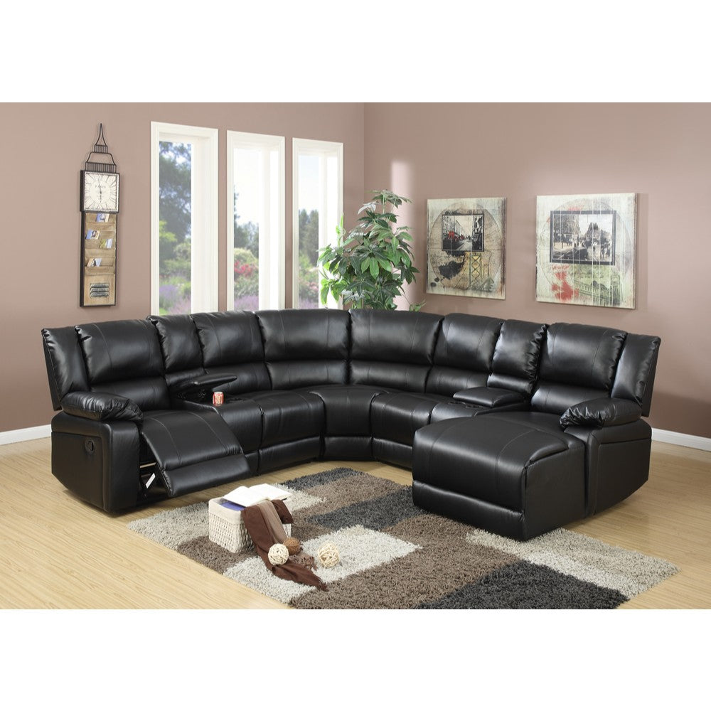Leather 5 Pieces Reclining Sectional In Black