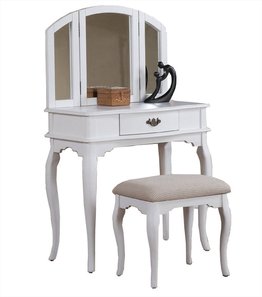 Wooden Vanity Set Featuring Stool And Mirror White