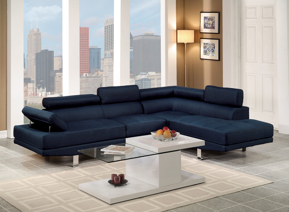Polyfiber Linen Fabric Sectional In Blue