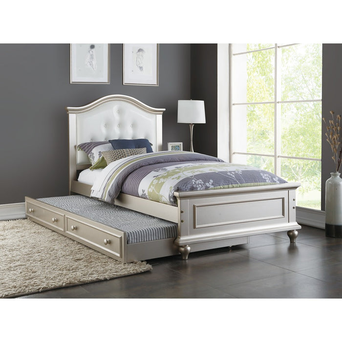 Cherub Twin Size Bed With Trundle In Silver And White