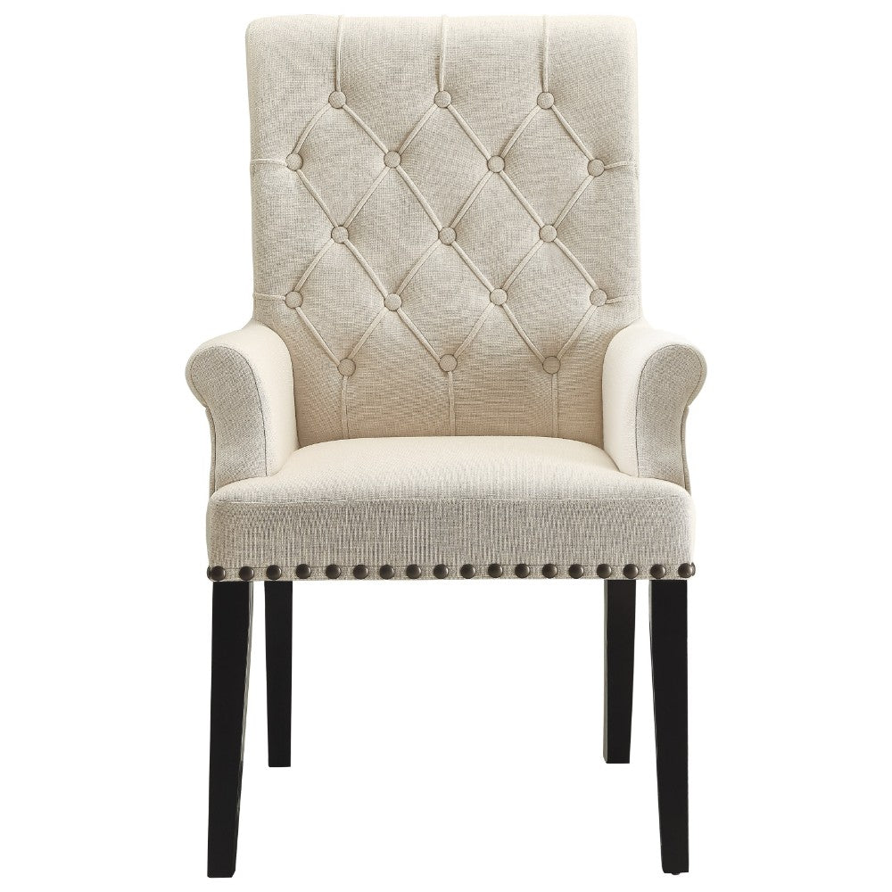 Diamond Tufted Upholstered Dining Chair, Cream & Smokey Black