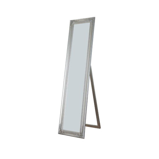 Standing Mirror with Decorative Design, Silver