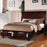 Wooden Queen Bed With 2 Under Bed Drawers, Smooth Cherry Finish
