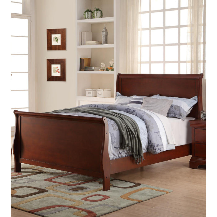 Full Wooden Bed, Cherry Finish