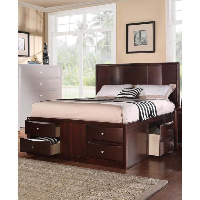 Queen Bed With 6 Under Bed Drawers, Espresso Finish
